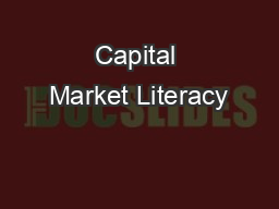 Capital Market Literacy