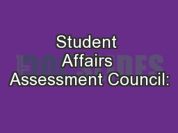 Student Affairs Assessment Council: