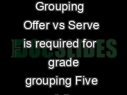 National School Lunch Program Frontline Staff Training Offer Versus Serve   Grade Grouping  Offer vs Serve is required for   grade grouping Five full components must be offered MeatMeat Alternate min