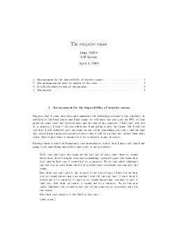 The surprise exam phil  Je Speaks April    An argument for the impossibility of surprise exams