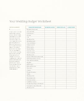Your WeddingBudget Worksheet When it comes to spend ing five figures of your or your parents hard earned bucks the power invested in you is not to be taken lightly PDF document - DocSlides