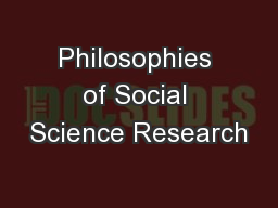 Philosophies of Social Science Research