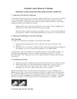 PERSONAL CLEANLINESS FOR LENS HANDLING AND INSERTION 1. Preparing The