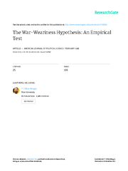 The War- Weariness Hypothesis: An Empirical Test *