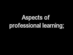 Aspects of professional learning;