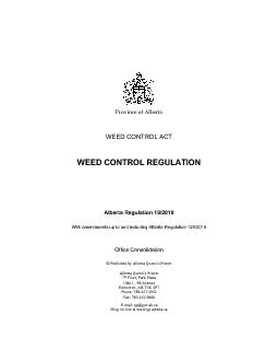 (no amdt) ALBERTA REGULATION 19/2010 Weed Control Act WEED CONTROL REG