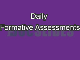 Daily Formative Assessments