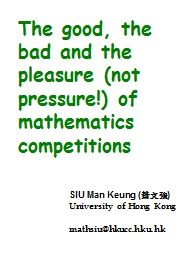 The good, the bad and the pleasure (not pressure!) of mathe
