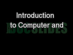 Introduction to Computer and
