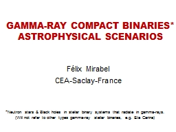 GAMMA-RAY COMPACT BINARIES*