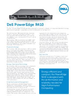 The Dell PowerEdge R is a powerful and ultradense socket U server that oers the performance of Intel Xeon processor  and  series DDR memory the availability of up to four hard drives