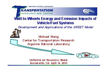Well-to-Wheels Energy and Emission Impacts of Vehicle/Fuel SystemsDeve PowerPoint PPT Presentation
