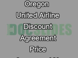 State of Oregon  United Airline Discount Agreement Price Agreement No