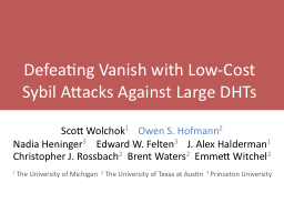 Defeating Vanish with Low-Cost