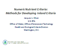 EPA National Nutrient Criteria Program