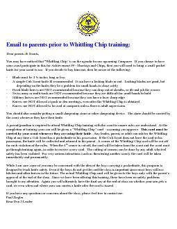 Email to parents prior to Whittling Chip training: