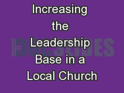 Increasing the Leadership Base in a Local Church