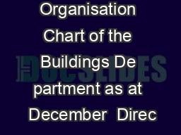 Organisation Chart of the Buildings De partment as at  December  Direc