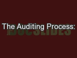 The Auditing Process: