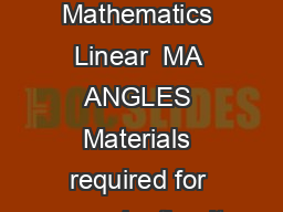 Edexcel GCSE Mathematics Linear  MA ANGLES Materials required for examination It