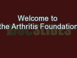 Welcome to the Arthritis Foundation