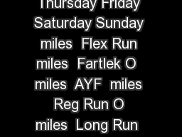 Week Monday Tuesday Wednesday Thursday Friday Saturday Sunday  miles  Flex Run  miles  Fartlek O  miles  AYF  miles  Reg Run O  miles  Long Run  miles  Flex Run  miles  Fartlek O  miles  Reg Run  mil