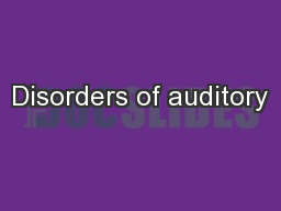 Disorders of auditory