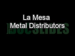 La Mesa Metal Distributors