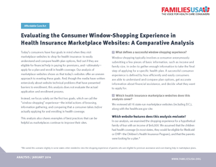 Evaluating the Consumer Window-Shopping Experience inHealth Insurance