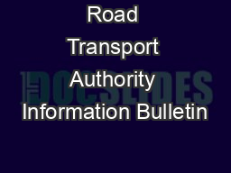 Road Transport Authority Information Bulletin