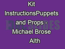 Ultimate Eye Kit InstructionsPuppets and Props - Michael Brose    Alth