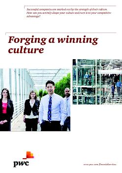 Forging a winning cultureSuccessful companies are marked out by the st
