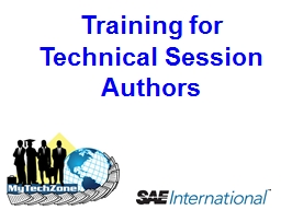 Training for Technical Session Authors