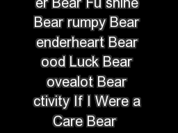 hare Bear ish Bear riend ear edtime Bear Che er Bear Fu shine Bear rumpy Bear enderheart Bear ood Luck Bear ovealot Bear ctivity If I Were a Care Bear  TCFC  ctivity eproducible Master  TCFC enderhea