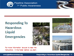 Responding To Hazardous Liquid Emergencies PowerPoint PPT Presentation