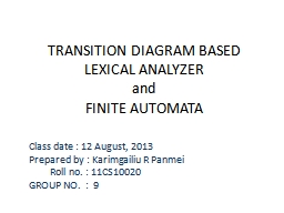 TRANSITION DIAGRAM BASED LEXICAL ANALYZER PowerPoint PPT Presentation