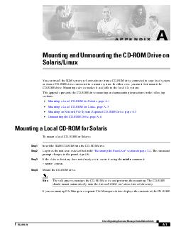 A Cisco Signaling Gateway Manager Installation Guide OL APPENDIX Mounting and Unmounting the CDROM Drive on SolarisLinux You can install the SGM server or client software from a CDROM dr ive connecte PDF document - DocSlides
