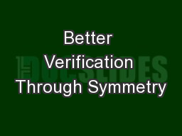 Better Verification Through Symmetry