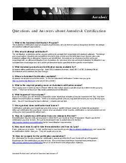 Autodesk Professional Certif ication Questions and Answers v Questions and Answers about Autodesk Certification