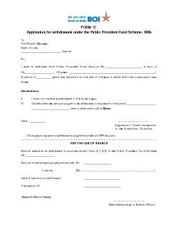 Application for withdrawals under the
