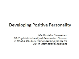 Developing Positive Personality PowerPoint PPT Presentation