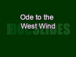 Ode to the West Wind