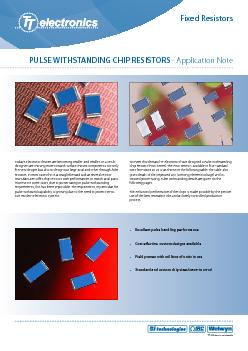 PULSE WITHSTANDING CHIP RESISTORS - Application NoteFixed ResistorsTod