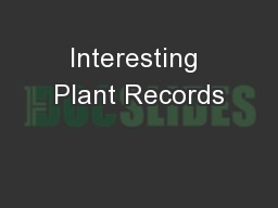 Interesting Plant Records