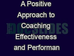 A Positive Approach to Coaching Effectiveness and Performan