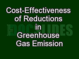 Cost-Effectiveness of Reductions in Greenhouse Gas Emission
