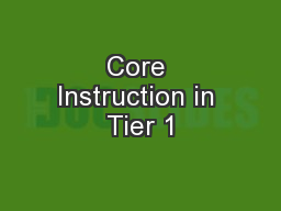 Core Instruction in Tier 1 PowerPoint PPT Presentation