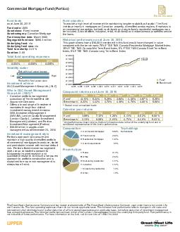 Fixed income Commercial Mortgage Fund Portico Fund facts as at Sept