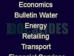Frontier Economics Bulletin Water Energy Retailing Transport Financial Services