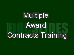 Multiple Award Contracts Training